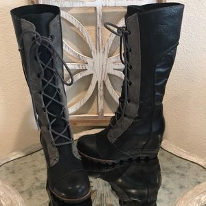 SOREL CATE THE GREAT WEDGE BOOT BLACK GRAY SZ 6